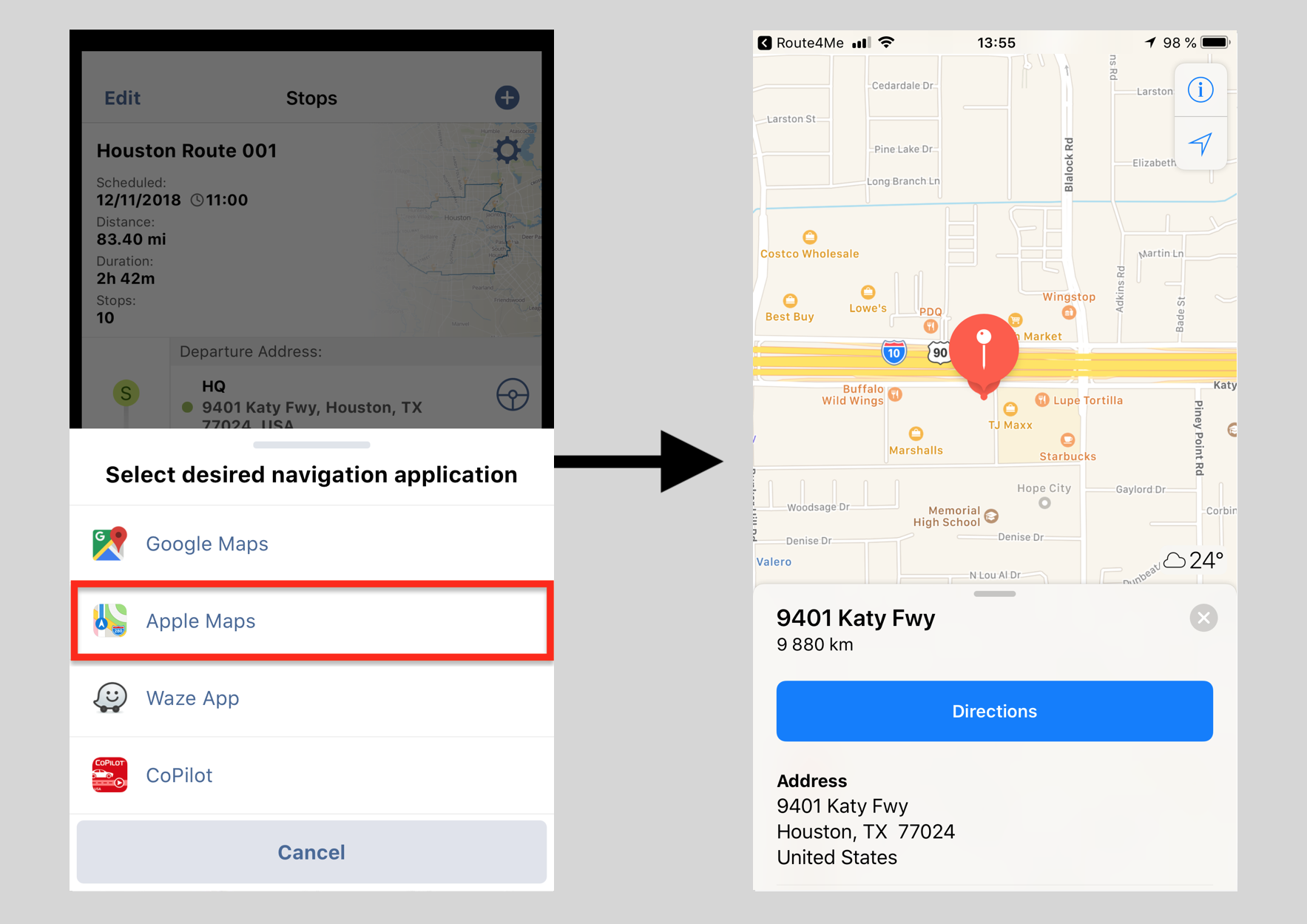 Navigating Routes on an iPhone Using Third-Party Voice
