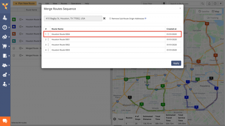 Merge Routes - Merging Multiple Routes into a New Single Route Using the Routes Map
