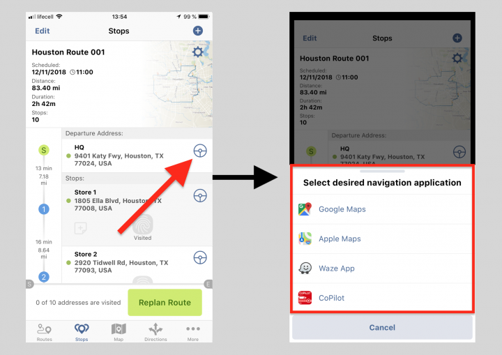 Navigating Routes on an iPhone Using Third-Party Voice-Guided Navigation Applications