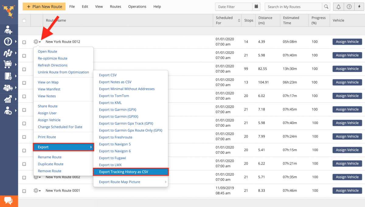 Route Tracking History Export - Exporting Tracking History on the Route4Me Web Platform