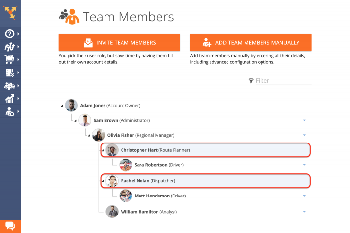 Route4Me Team Hierarchy by User Type