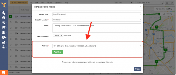 Viewing and Adding Notes Using the Route4Me Web Platform