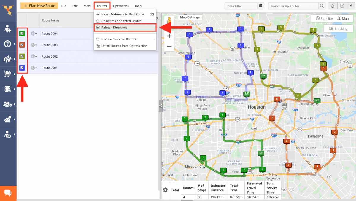 Refresh Directions - Refreshing Route Directions on the Route4Me Web Platform