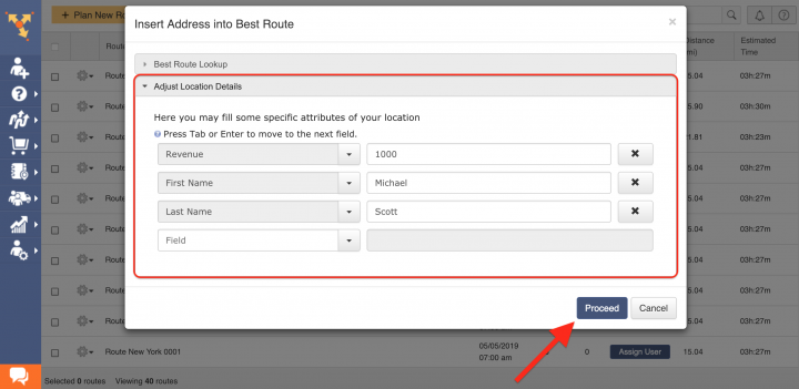Inserting Addresses into the Best Routes with Dynamic Stop Insertion