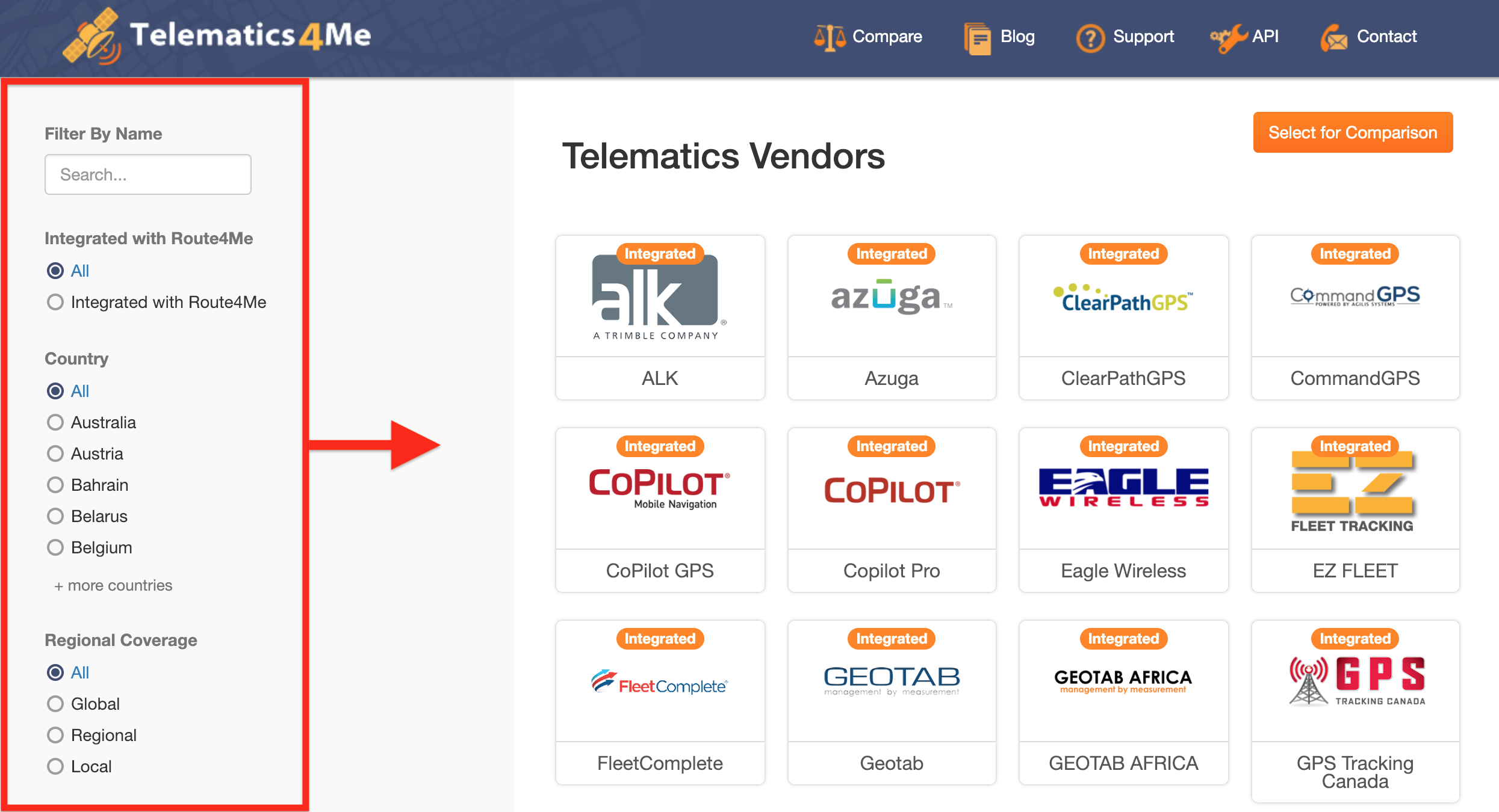 Route4Me telematics vendors filters in action
