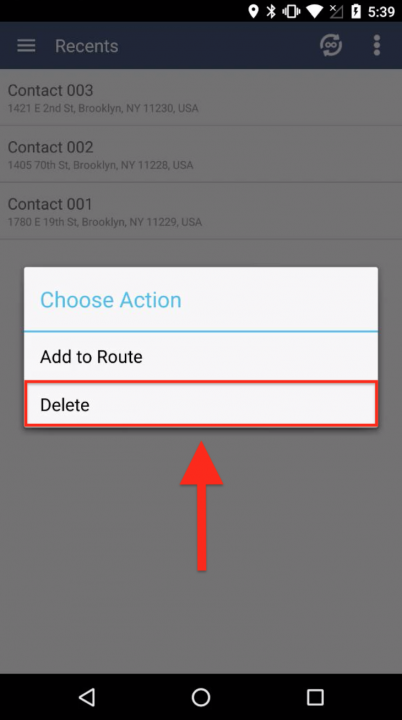 Inserting Recent Addresses into the Current Route