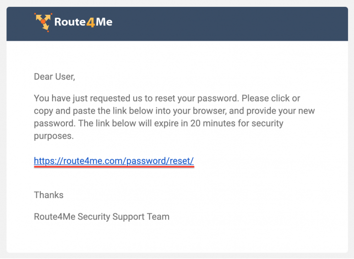 Resetting the Password to Your Route4me Account