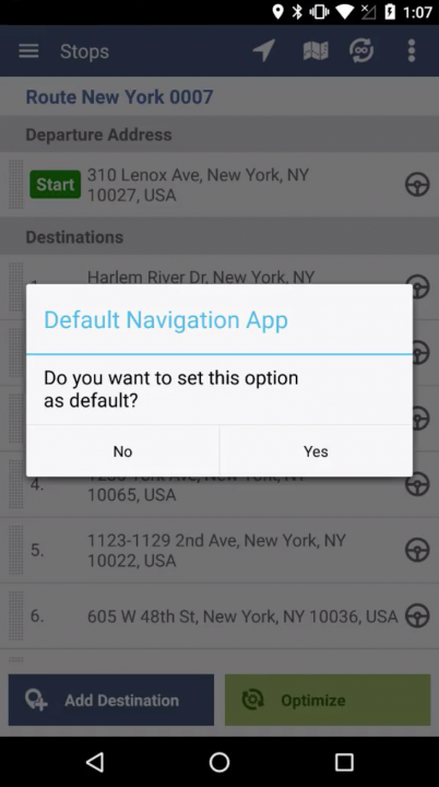 Navigating a Route on an Android Device