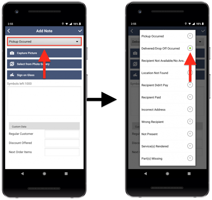 Adding Notes to a Stops on Android Devices