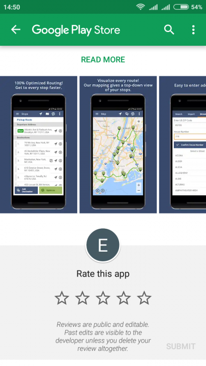 Rating the Route4Me's Android App