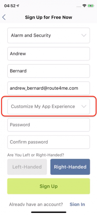 Setting Up a Free Route4Me Account on Your iPhone