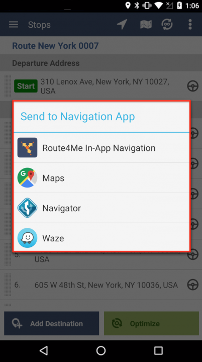 Navigating Routes on an Android Device Using Third-Party Navigation Applications