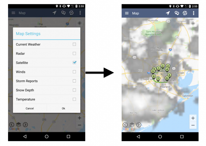 Viewing Weather Map Layers on an Android Device