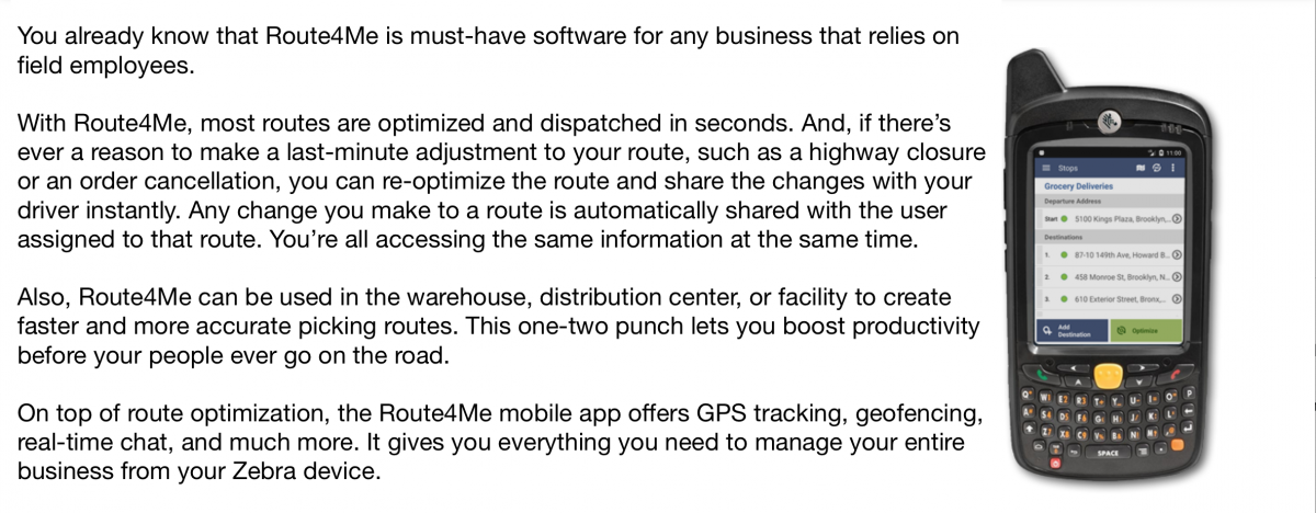 Route4Me for Zebra Devices