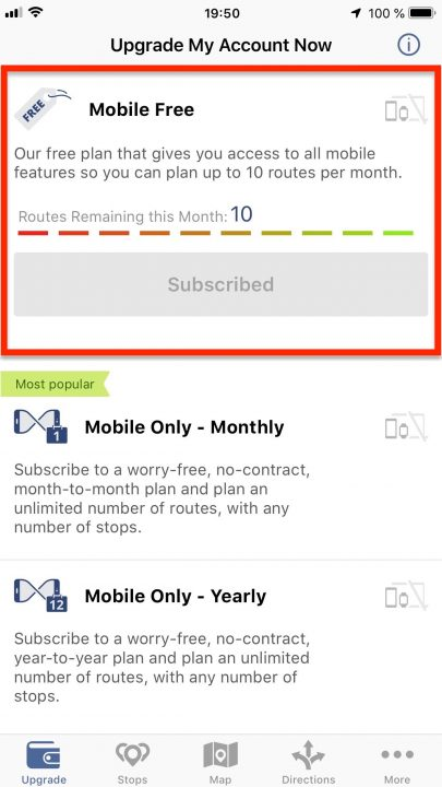 Understanding Route4Me Mobile Subscriptions (iPhone)