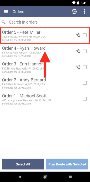 Making Calls to Your Orders on and Android Device