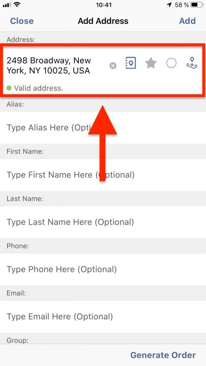 Using the Address Book Map on Your iPhone for Adding Contacts to Your Route4Me Address Book