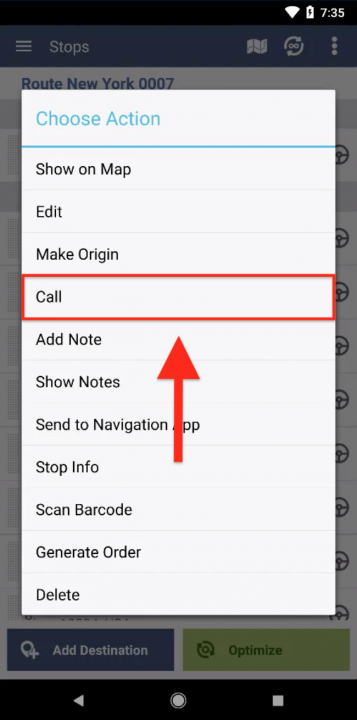 Making Calls to Contacts While Completing Routes (Android Devices)