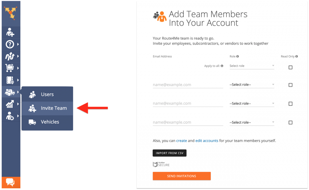 Inviting Your Team Members to Join Route4Me - Inviting Multiple Users with Pre-Assigned Roles