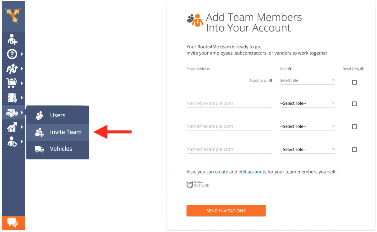 Inviting Your Team Members to Join Route4Me (Inviting Multiple Users with Pre-Assigned Roles)