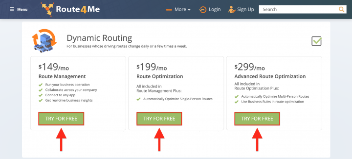 Selecting a Dynamic Routing Package and Signing Up on the Route4Me Web Platform