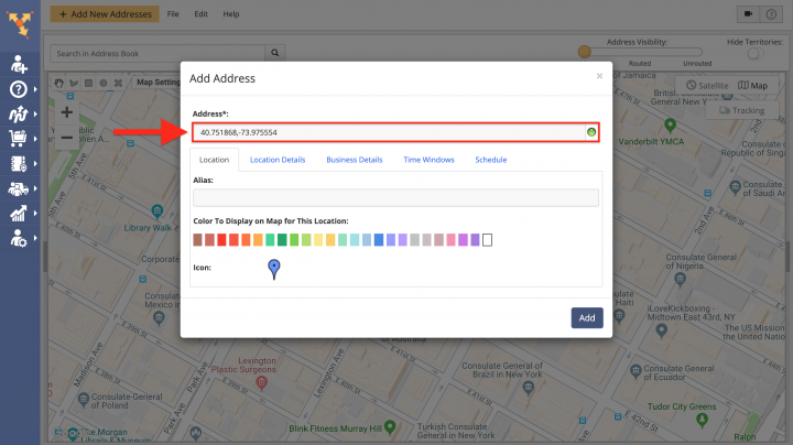 Using the Map for Adding Addresses to the Address Book