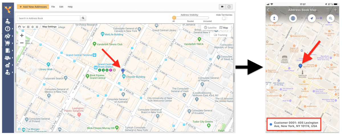 Using the Map for Adding Addresses to the Address Book and Creating Customer Profiles