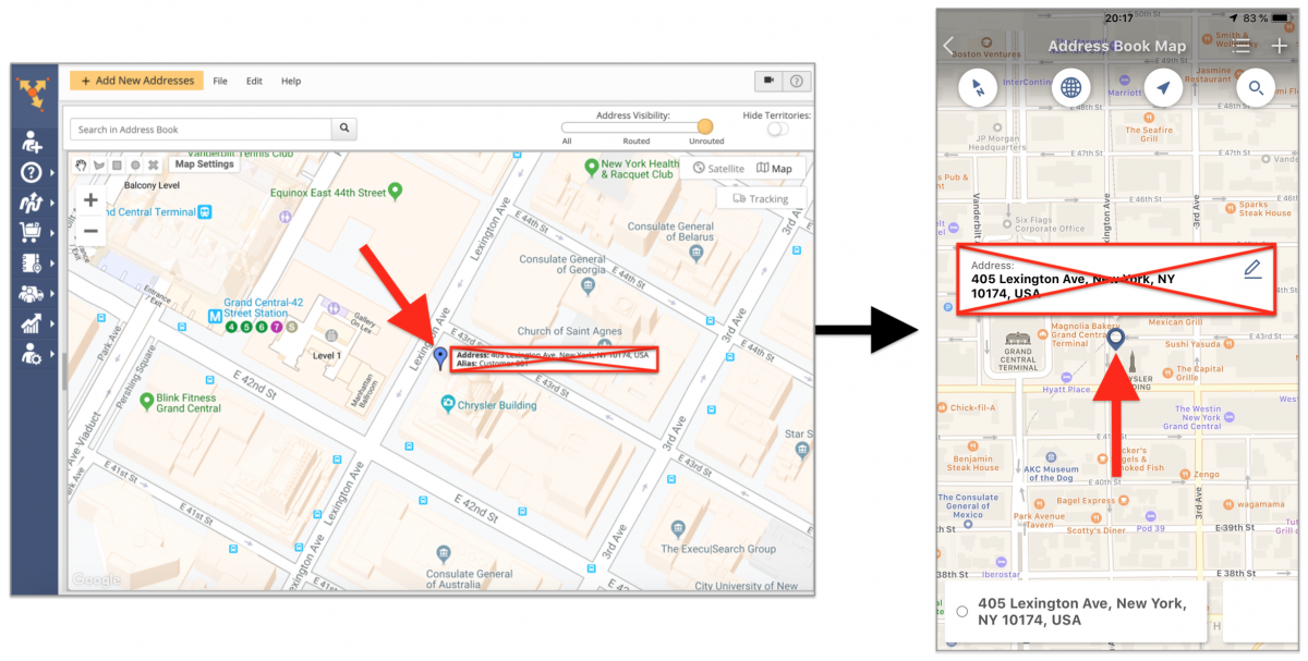 Deleting Addresses and Customer Profiles from the Address Book Map