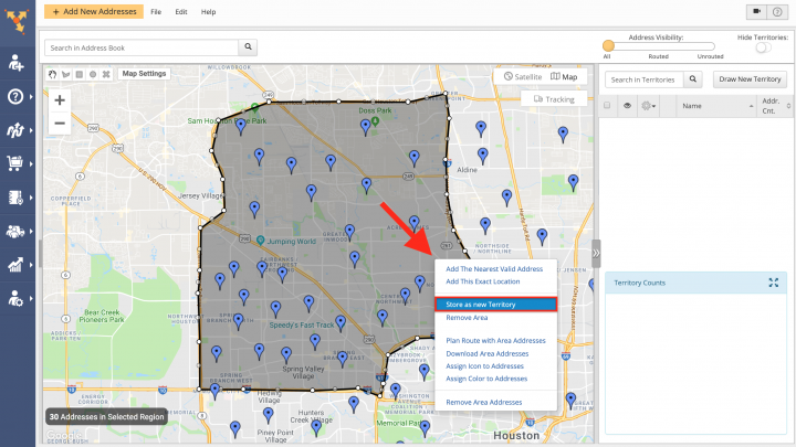 Creating and Managing Territories with Addresses from the Address Book Map