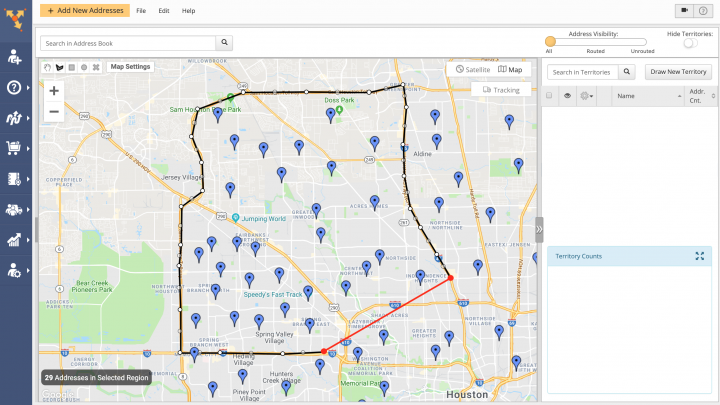 Creating and Managing Territories with Addresses in the Address Book Map