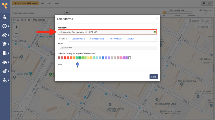Editing Customer Profiles from the Address Book Map