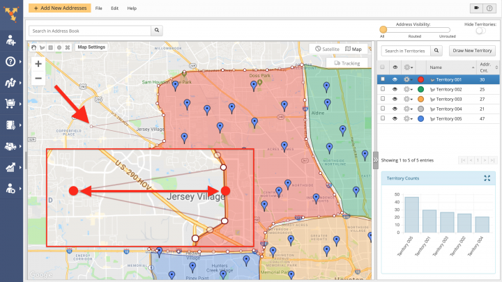 Viewing and Editing Territories on the Address Book Map