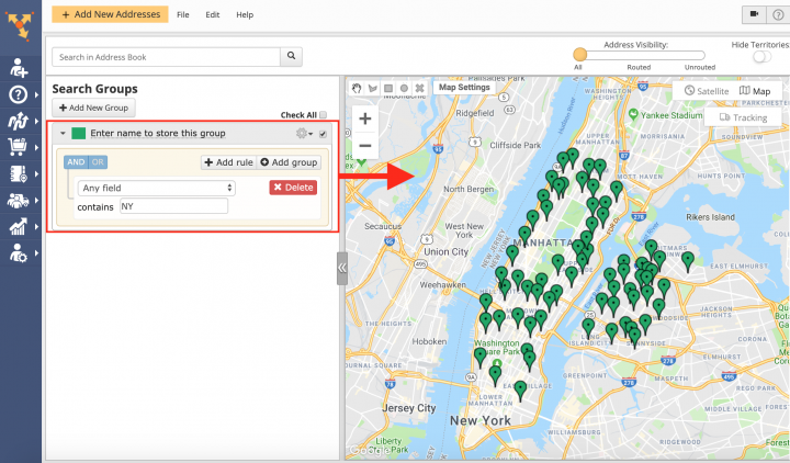 Creating Advanced Search Groups in the Address Book Map