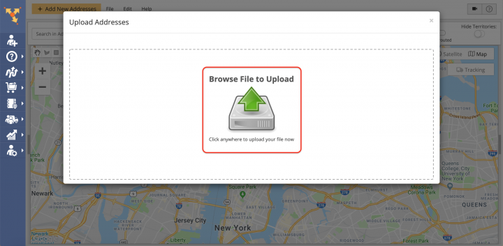 Uploading Addresses and Contacts into the Address Book Map