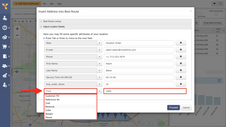 Inserting Addresses from Territories into the Best Routes (Dynamic Stop Insertion))