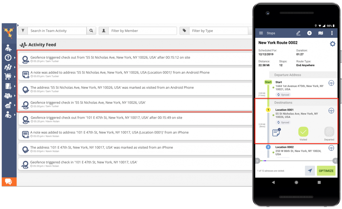 Route4Me Audit Logging and Activity Stream