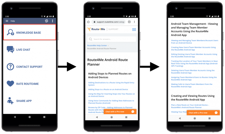 Getting Help When Using Route4Me's Android Route Planner