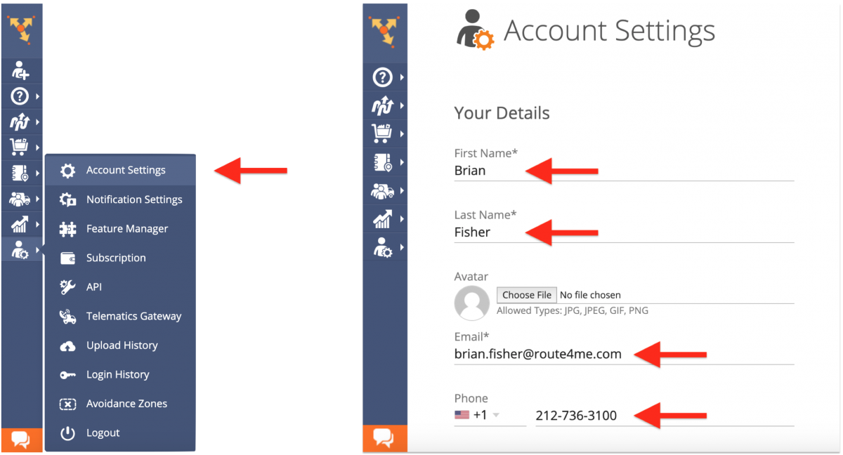 Filling Out Your Route4Me Account Information After Registering with Google, LinkedIn, or GitHub