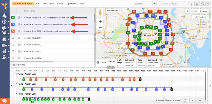 Auto-Assigning Users to Multiple Routes on the Route4Me Web Platform