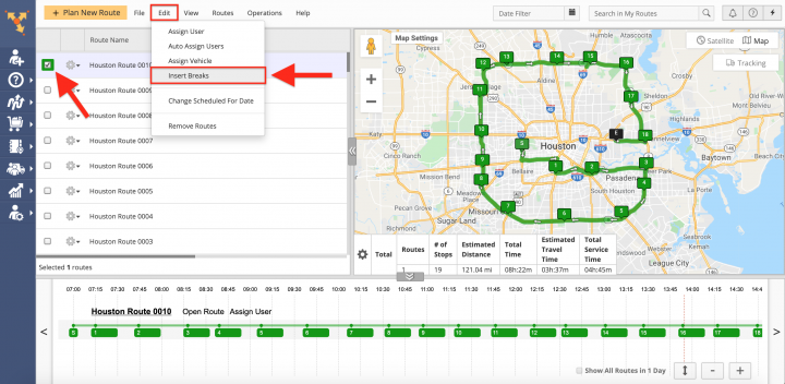 Driver Breaks - Inserting Driver Break Stops into Planned Routes on the Route4Me Web Platform