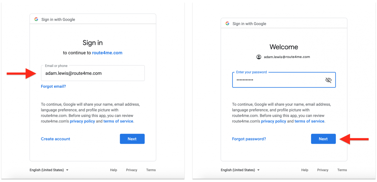 Google Single Sign-On (SSO) - Registering a New Route4Me Web Account with Google SSO and Signing in with Google