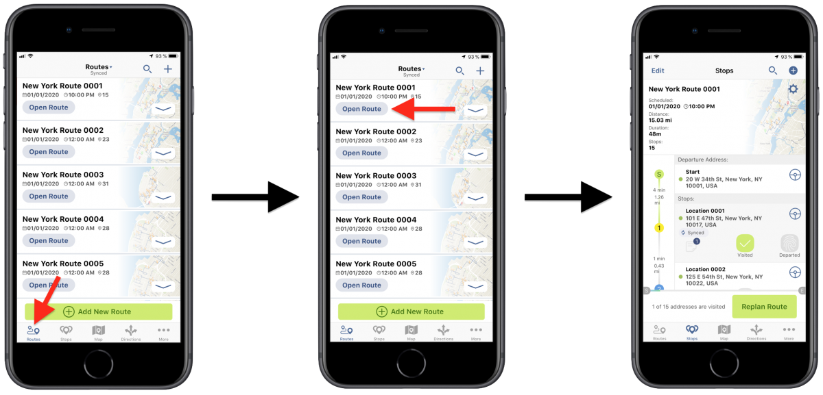 Route4Me iOS Activity Stream - Viewing Your Routing Activity History Using Route4Me's iPhone Route Planner