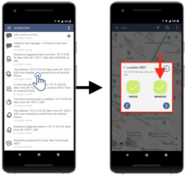 Route4Me Activity Stream - Viewing Your Routing Activity History Using Route4Me's Android Route Planner