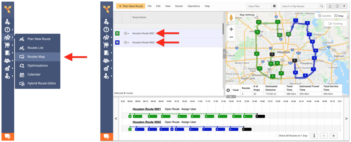Route Reversal - Reversing Multiple Routes Using the Routes Map on the Route4Me Web Platform