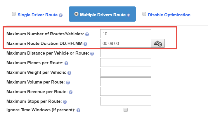 Start your route planner with multiple stops by indicating the number of routes and route duration