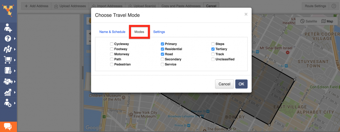 Plan Routes within a Predefined Area using the Travel Roads Feature of Route4Me - the Best Route Planner