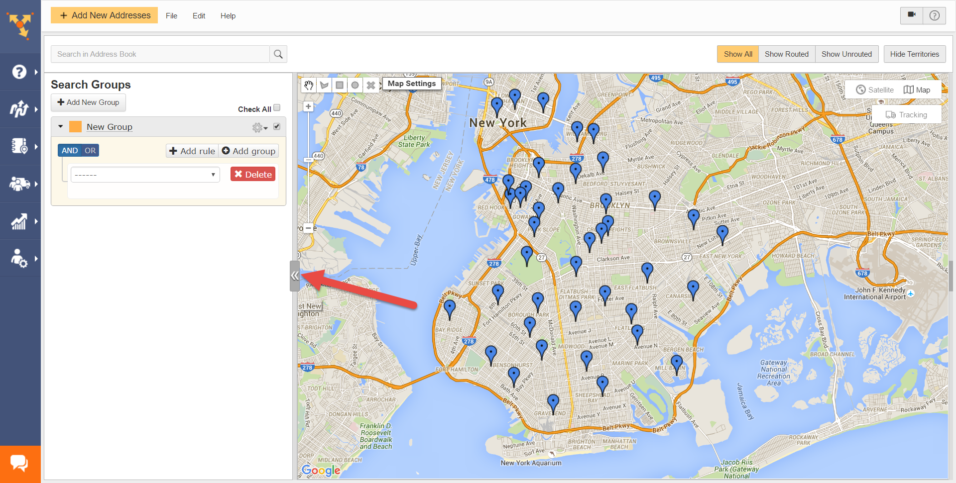 Route4Me as map route planner filters contacts using search groups