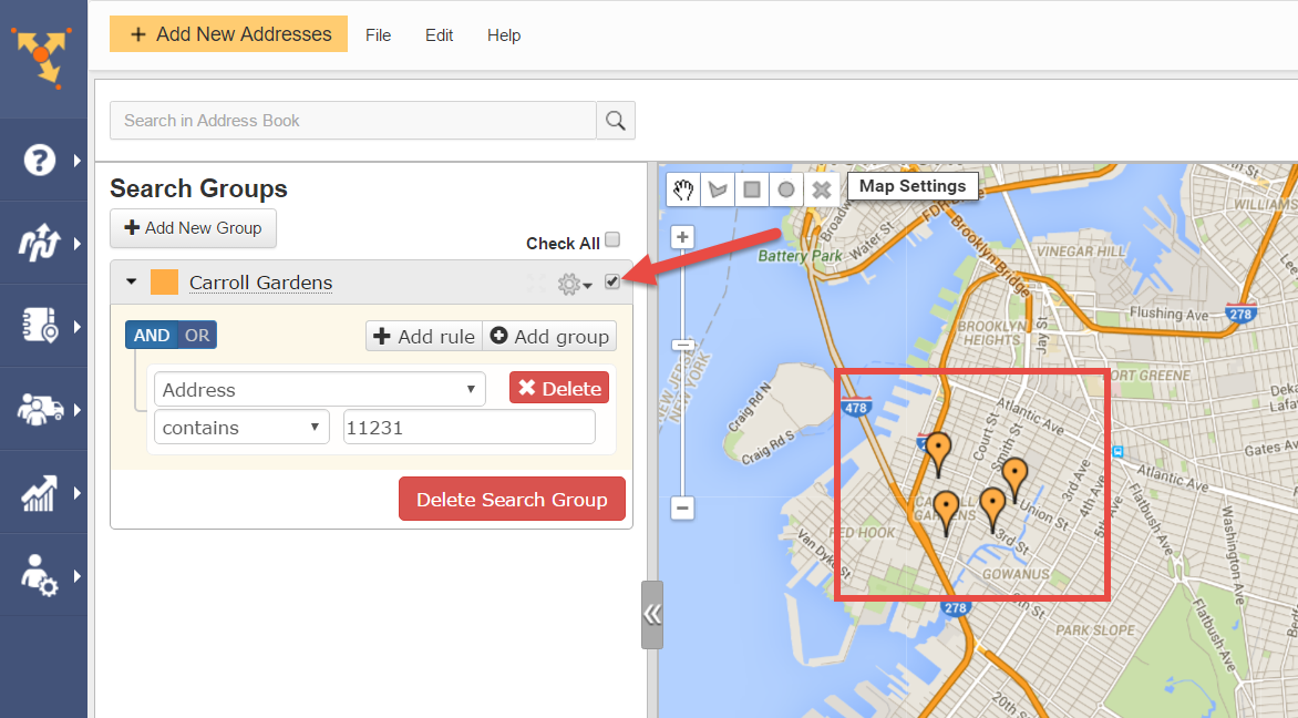 Route scheduling software like Route4Me creates search groups