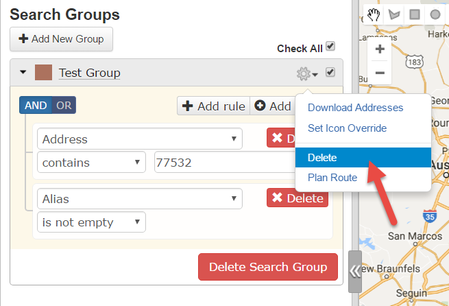Run this route planner, Route4Me to manage search groups