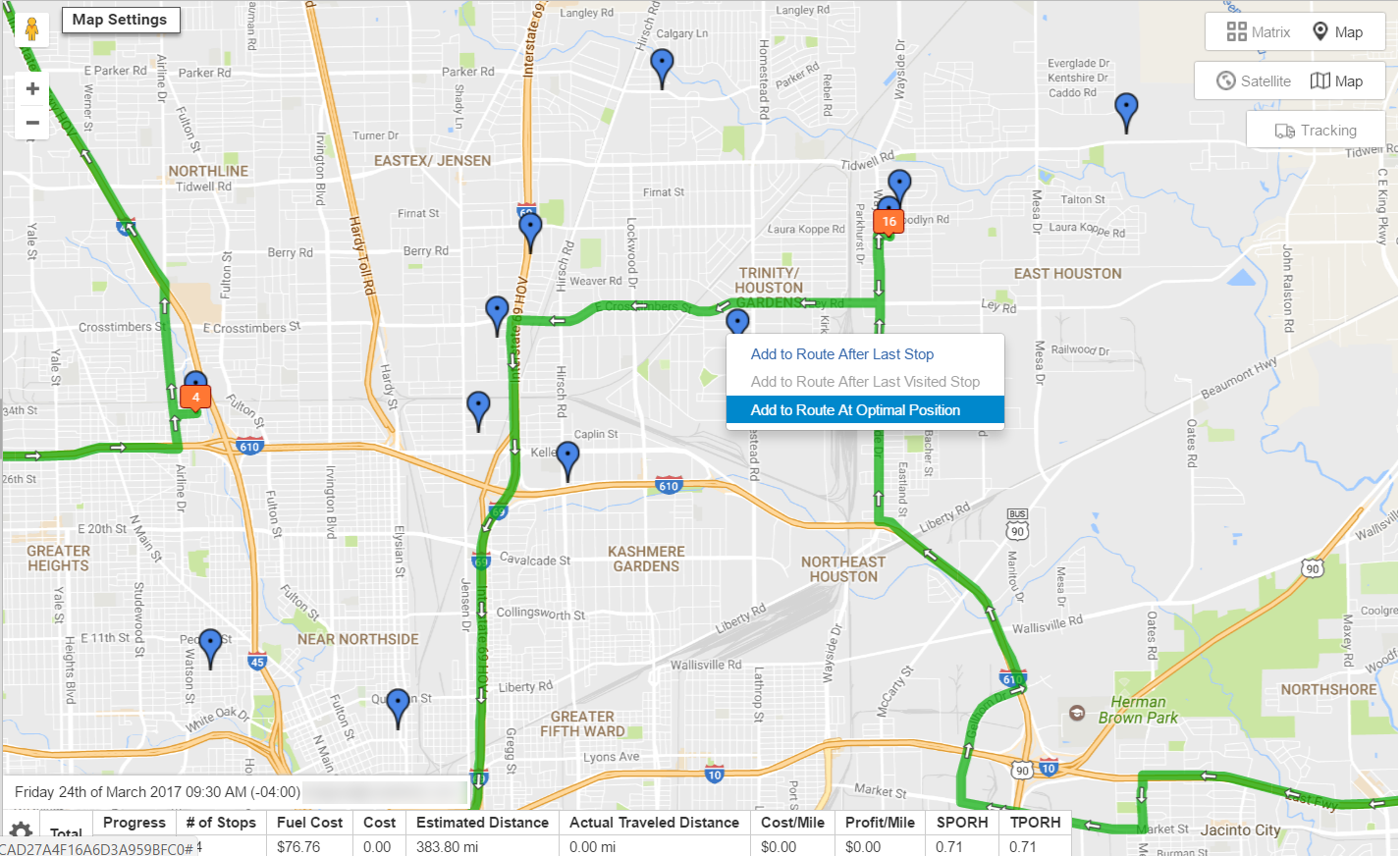 Route planning with Route4Me allows you to add destinations using the address book map